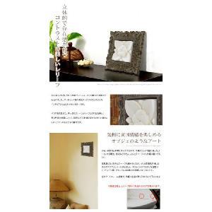木彫りフレーム付きプルメリアモチーフのストーンレリーフ 20x20cm アジア工房|elements|02