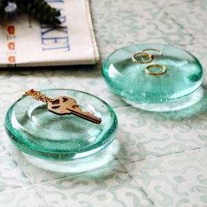 ガラスで出来たラウンド型のシンプルなトレイ オブジェ ペーパーウエイト 文鎮  トレー びいどろ アジアン マルチ アクセサリー  雑貨 1314|ELEMENTS