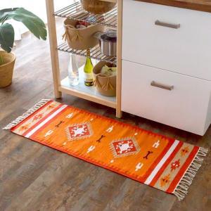 キッチンマット おしゃれ 玄関マット 45×120cm ラグ マット キリム インド綿 オルテガ エスニック ネイティブ 民族 Gタイプ