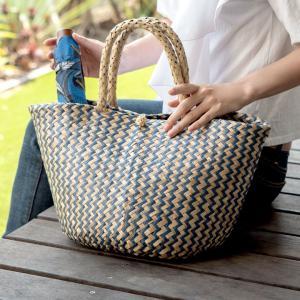 バスケット トートバッグ [ネイビー] シーグラス製 シェブロン柄 大容量 持ち手つき かご 収納 アジア雑貨|elements