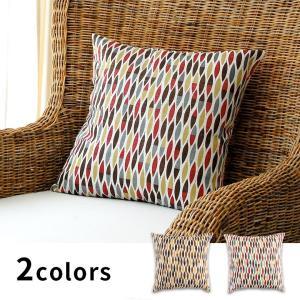 クッションカバー 麻 綿 リーフ柄 43×43cm アジアン 正方形 おしゃれ クッション カバー 椅子 ファブリック 北欧 モダン|elements