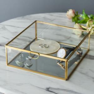 ガラスと真鍮でできた鏡付き収納ケース Lサイズ|elements