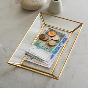 キャッシュトレー キャッシュトレイ アクセサリートレイ ジュエリー ガラス トレイ アクセサリー置き 小物置き 真鍮 おしゃれ ディスプレイ 63190|ELEMENTS