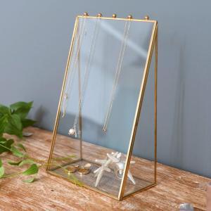 アクセサリーケース ジュエリーケース ネックレス ガラスと真鍮 ジュエリースタンド ジュエリーボックス 収納 ディスプレイの写真