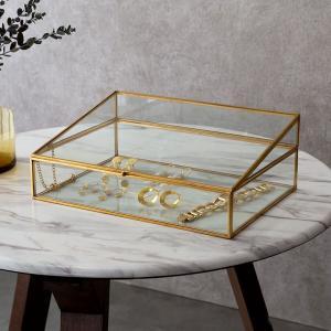アクセサリーケース ジュエリーケース ガラスと真鍮 ジュエリースタンド ジュエリーボックス 収納 ディスプレイ|elements