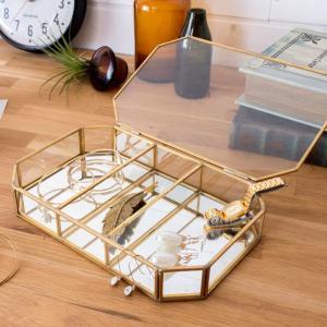 ジュエリーケース フタ付き ガラス 真鍮 ゴールド|elements