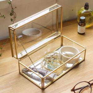 収納ケース ストッパー付き ガラス 真鍮 ゴールド|elements
