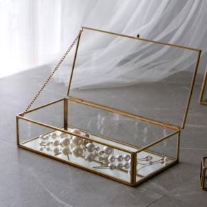 ジュエリーボックス フタ付き ガラス 真鍮 ゴールド ガラスケース アクセサリーケース アクセサリー入れ ディスプレイケース 小物入れ 小物収納 6328|ELEMENTS