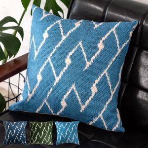 クッションカバー 約45×45cm 正方形 ブルー グリーン 男前 シンプル おしゃれ ドビー織り風 ファスナー付き 北欧 6654|ELEMENTS