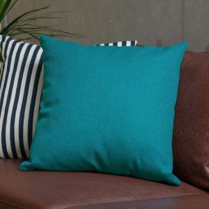 クッションカバー 約45×45cm 正方形 無地 ブルー ターコイズブルー シンプル おしゃれ ファスナー付き 北欧|elements