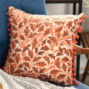 クッションカバー 約45×45cm 正方形 ソファークッション ベッドクッション オレンジ リーフ柄 ボタニカル 西海岸 ハワイ リゾート おしゃれ|elements