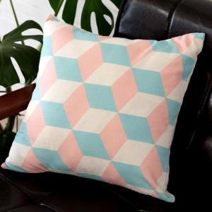 クッションカバー 約45×45cm 正方形 ソファークッション ベッドクッション ピンク ブルー 幾何柄 フェミニン 西海岸 ハワイ リゾート おしゃれ|elements