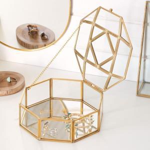 アクセサリーケース ジュエリーボックス 小物入れ アクセサリー ケース 収納 フタ付き ガラス 真鍮 ゴールド ディスプレイ ケース おしゃれ 透明|elements