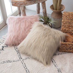 クッションカバー 約45×45cm 正方形 フェイクファー ふわふわ ソファークッション ベッドクッション ピンク ベージュ フェミニン おしゃれ|elements