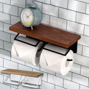 トイレットペーパーホルダー 2連 天板付き 棚付き アイアンハンガー トイレ小物 おしゃれ ペーパーホルダー 天然木 木製 elements