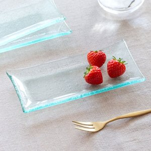 トレイ ガラス アジアン アメニティ アクセサリートレイ 小物入れ 収納トレイ 皿 ガラス皿 デザート皿 8565|ELEMENTS