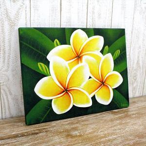 バリを代表するプルメリア(フランジパニ)の花を描いたアート。南国リゾートの雰囲気たっぷりの、飾るだけ...