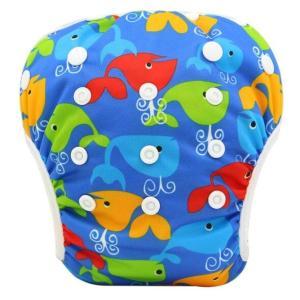 欧米商品ならではの柄、色使いがとっても可愛い赤ちゃん用水遊びオムツ水着 裏は通気性良く、赤ちゃんのお...