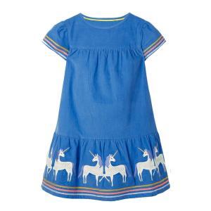 北欧柄 子供服 キッズ 半袖 ワンピース ブルー ユニコーン柄|elephant-nose