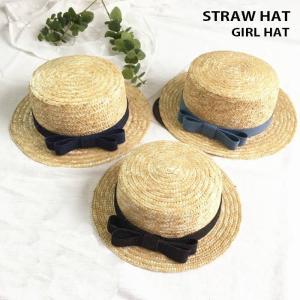 ●ITEM:キッズ 麦わら帽子 ストローハット カンカン帽 リボン りぼん ハット 帽子 夏 夏用 ...