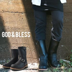 d39115f7a4 送料無料 God&Bless LEATHER ENGINEER BOOTS メンズ レディース ブラック 黒 ゴッドブレス レザー ロングエンジニア ブーツ 本革