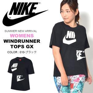 半袖 Tシャツ ナイキ NIKE レディース ウィンドランナー トップス GX シャツ ゆったり カットソー ビッグロゴ ロゴ プリント 2018夏新作 送料無料|elephant