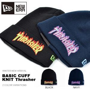 ニット帽 ニューエラ NEW ERA ニットキャップ ビーニー BASIC CUFF KNIT Thrasher スラッシャー フレイム ファイヤー 帽子 30%off|elephant