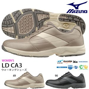 ウォーキングシューズ ミズノ MIZUNO レディース LD CA3 幅広 3E ファスナー付 スニーカー 靴 シューズ 得割20 送料無料|elephant