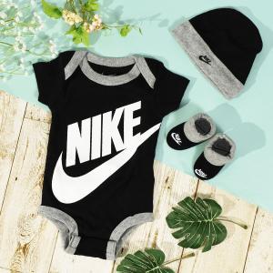 3点セット ナイキ NIKE ベビー 帽子 半袖 ロンパース 靴下 0歳〜6ヶ月 出産祝い 赤ちゃん 2019春夏新作 箱入り ギフト ボックス ln0313 ln0073|elephant
