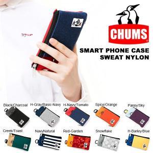 ゆうパケット対応可能! スマホケース CHUMS チャムス Smart Phone Case Sweat Nylon iPhone7対応 スマートフォン ポーチ コインケース パスケース 2018秋冬新色|elephant