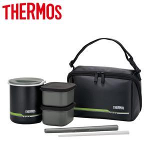 サーモス THERMOS 保温弁当箱 1膳×2.5 約1合 丸洗い可能 専用ポーチ付 ランチボックス DBQ-502 マットブラック アウトドア キャンプ|elephant