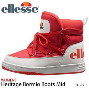 スニーカーブーツ ellesse エレッセ レディース ヘリテージ ボルミオ ブーツ ミッド ショートブーツ ハイカット シューズ 靴 ロゴ レッド EFH9323 2019秋新作|elephant
