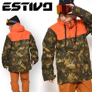 半額!! スノーボードウェア エスティボ ESTIVO EV MOUNTAIN CAMO J メンズ ジャケット カモフラージュ柄 迷彩 スノボ スノーボード 送料無料 50%off