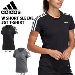 半袖 Tシャツ アディダス adidas レディース W 半袖 3スト Tシャツ ランニング トレーニング ウェア ジム ヨガ フィットネス 3本ライン 2019夏新作 得割23 FRU57|elephant