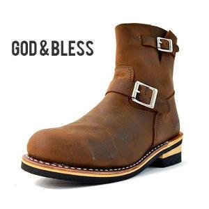 4d2c6ee7db エンジニアブーツ メンズ レディース ブーツ ブラウン 茶 本革 レザー ショートブーツ GOD&BLESS ゴッド&ブレス 送料無料