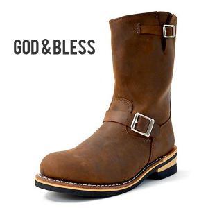 871651d95e エンジニアブーツ メンズ レディース ブーツ ブラウン 茶 本革 レザー ロングブーツ GOD&BLESS ゴッド&ブレス 送料無料