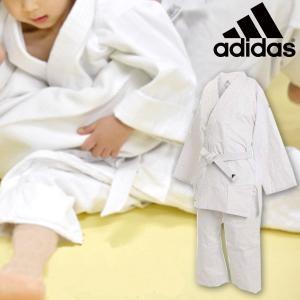 子供用 上下セット トレーニング用 柔道着 帯付き 白帯 アディダス adidas 白 上下組 練習用 J250JSMUPE 3本ライン 送料無料|elephant