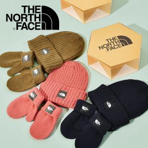 お一人様一点限り 2点セット ザ・ノースフェイス THE NORTH FACE ベビー 1歳 2歳 ニットキャップ ミトン 手袋 帽子 キッズ 2019秋冬新色 箱入り ギフト ボックス