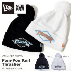 ポンポン ニット帽 ニューエラ NEW ERA ニットキャップ ビーニー Pom-Pon Knit Thrasher スラッシャー ビーニー 帽子 スノーボード 40%off|elephant