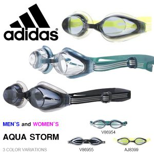 スイミングゴーグル アディダス adidas アクアストーム メンズ レディース スイミング ゴーグル 水中メガネ プール 水泳 スイム 20%off|elephant