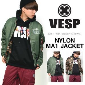 スノーボードウェア VESP ベスプ NYLON MA1 JACKET メンズ MA-1 ジャケット  メンズ レディース リバーシブル 2WAY  30%off elephantsports