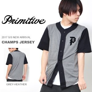 送料無料 半袖 ベースボールシャツ PRIMITIVE プリミティブ メンズ CHAMPS JERSEY シャツ メンズ ロゴ スケボー 半袖 2017春新作 得割35 elephantsports