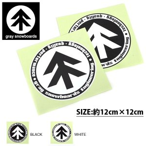ゆうパケット対応可能! gray snowboards ステッカー グレイ スノーボード 直径12cm STICKER スノーボード カッティング シール スノボ elephantsports