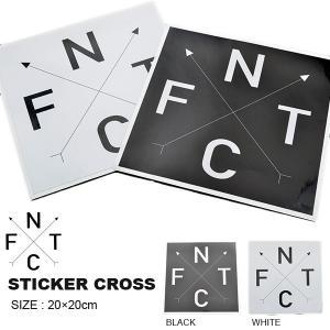ゆうパケット対応可能! ステッカー FNTC エフエヌティシー STICKER CROSS WHITE BLACK ホワイト ブラック 20×20cm カッティングシート スノーボード スノボ elephantsports