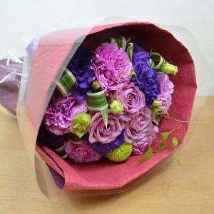 生花 紫のお花を使用した ブーケ型花束 古希 ギフト プレゼント 誕生日 お祝い|elfleur