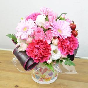 ハート柄デザイン花器 ガーベラ・カーネーションアレンジメント お花の延命剤付 フラワーギフト 花 ギフト プレゼント 誕生日祝い 結婚祝い elfleur