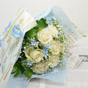 白バラ&ブルースター ブーケ花束 贈り物 花 プレゼント ギフト|elfleur
