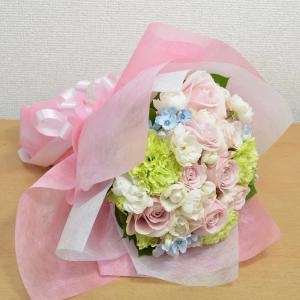 花 ギフト ラウンドブーケ ピンク フラワー プレゼント 贈り物 誕生日 クリスマス|elfleur