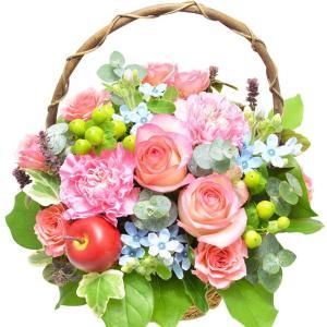 ピンクバラ&ピンクカーネーション バスケット アレンジメント お花の延命剤付 花 プレゼント ギフト 誕生日 elfleur