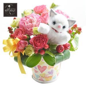 花 白猫ピック付 アレンジメント バラ カーネーション  フラワーギフト クリスマス 誕生日プレゼント 贈り物|elfleur
